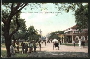 AK Colombo, Street scene, Fort, Rikscha