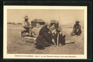 AK Basutoland, Le vieux Missionnaire instruisant le vieux mosuto, Missions du Sud-Afrique