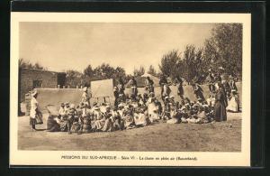 AK Basutoland, La classe en plein air, Missions du Sud-Afrique