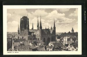 AK Danzig / Gdansk, St. Marienkirche