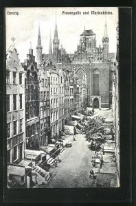 AK Danzig, Frauengasse und Marienkirche