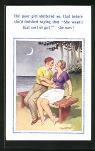 Künstler-AK Donald McGill: Pärchen sitzt bei Mondschein auf einer Bank am Ufer