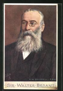 AK Dichter Sir Walter Besant, Halbportrait mit Brille und Bart