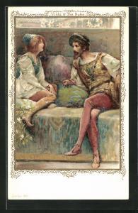 AK Schriftsteller William Shakespeare, Szene aus Was ihr wollt, Viola and the Duke