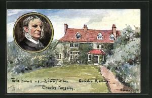 AK Portrait Charles Kingsles, The Homes of Literary Men, Eversley Rectory