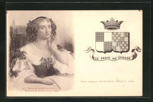AK Portrait Marie de Rabutin-Chantal, Marquise de Sevigne, 1627-1696