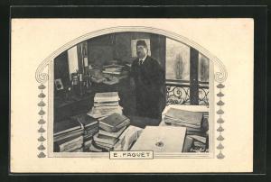AK Portrait E. Faguet mit Büchern