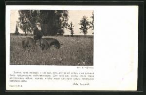 AK Portrait Tolstoi auf seinem Pferd
