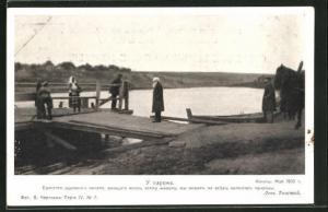 AK Portrait Tolstoi auf einer Brücke