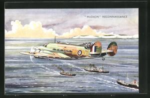 Künstler-AK Flugzeug Hudson Reconnaissance mit Kriegsschiffen