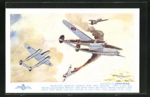 Künstler-AK Lockheed Lightning, Single-seat mid-wing Fighter, Flugzeug