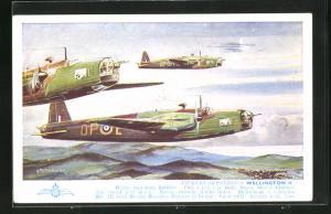 Künstler-AK Vickers-Armstrongs Wellington II, Britische Kampfflugzeuge im Staffelflug