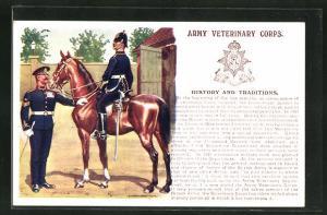 AK Army Veterinary Corps, Soldaten in Uniformen u. Pferd