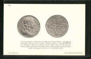 AK Petition Crown of Charles II. by Thomas Simon, Geldmünze 1663