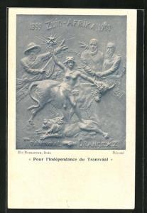 AK Pur l`Indépendance du Transvaal, Relief von H. Buelinckx, Burenkrieg