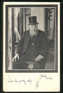 AK Burenpräsident Kruger, Portrait mit Trauerrand