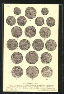 AK Anglo-Saxon Coins, anglosächsische Münzen, Archäologie