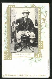AK Général Ch. de Wet, Transvaal, Burenkrieg, Portrait mit Gewehr