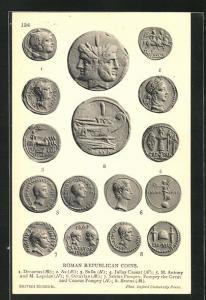 AK Roman Republican Coins, historische Münzen, Archäologie