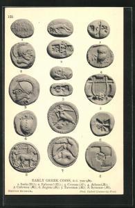 AK Early Greek Coins, historische Münzen, Archäologie, Antike