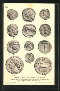 AK Greek Coins, Fine Period, historische Münzen, Archäologie, Antike
