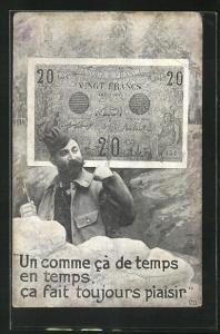 AK Un comme ca de temps..., französ. Soldat und Banknote