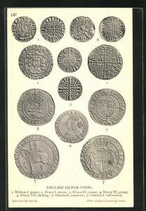AK English Silver Coins, historische Münzen, Archäologie