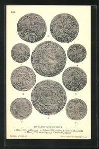 AK English Gold Coins, historische Münzen, Archäologie