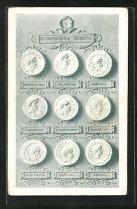 AK Iconographia Romana I, historische Münzen, Archäologie, Antike