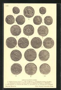 AK Anglo-Saxon Coins, historische Münzen, Archäologie, Antike