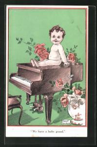 Künstler-AK Fred Spurgin: We have a baby grand, kleiner Nackedei