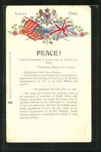 Präge-Lithographie Laus Deo, Peace!, Lord Kitchener to Secretary of State of War