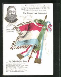 AK Burenkrieg, Portrait Stefanes Johannes Paulus Krüger, Das Banner von Transvaal, Das Freiheitslied der Buren