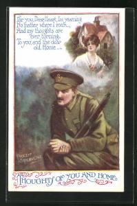 Künstler-AK Fred Spurgin: Soldat denkt an die Frau zuhause