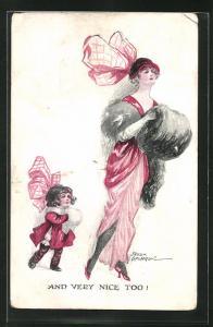 Künstler-AK Fred Spurgin: Mutter und Tochter beim Spaziergang mit Pelzmuff und grosser Schleife am Hut