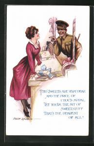 Künstler-AK Fred Spurgin: Soldat kauft Süssigkeiten und Schokolade an einem Verkaufsstand