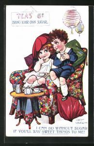 Künstler-AK Fred Spurgin: Kinder sitzen beim Tee zusammen im Sessel