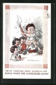 Künstler-AK Fred Spurgin: Schreiende Kinder blicken zum Jungen, der mit der Axt einen Baum fällt