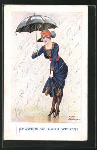 Künstler-AK Fred Spurgin: Junge Dame steht mit Schirm im Regen, Showers of good wishes