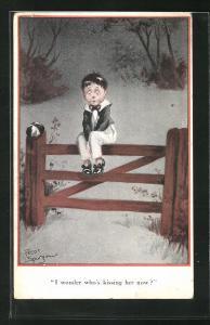Künstler-AK Fred Spurgin: Trauriger Junge sitzt auf dem Gatter