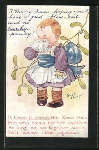 Künstler-AK Fred Spurgin: Kleines Mädchen weint in sein Taschentuch