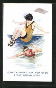 Künstler-AK Fred Spurgin: Junger Mann im Wasser duckt sich vor der heranfliegenden Dame