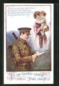 Künstler-AK Fred Spurgin: Junger Soldat liest einen Brief und denkt an die Lieben daheim