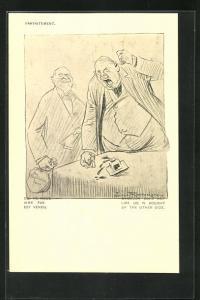 Künstler-AK Louis Raemaekers: Wütender Mann haut mit der Faust auf den Tisch