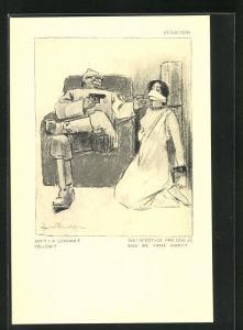 Künstler-AK Louis Raemaekers: Soldat bedroht eine gefesselte Frau mit der Waffe, Séduction