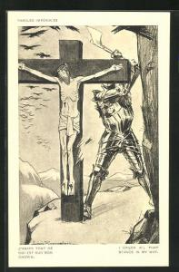 Künstler-AK Louis Raemaekers: Ritter macht sich mit der Axt am Jesus-Kreuz zu schaffen, Paroles Impériales
