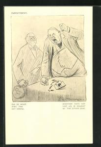 Künstler-AK Louis Raemaekers: Mann haut wütend mit der Faust auf den Tisch