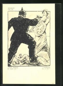 Künstler-AK Louis Raemaekers: Soldat mit Pickelhaube zertrampelt Frau Luxemburg und droht mit der Waffe