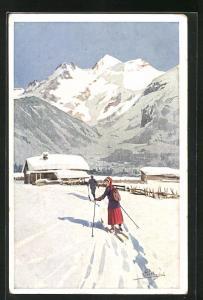 Künstler-AK Carlo Pellegrini: Paar bei einer Skiwanderung in den Bergen