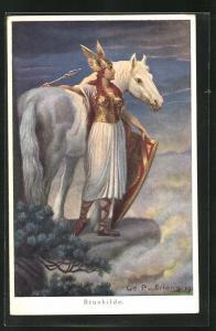 AK Nibelungen, Brunhilde steht mit Speer und Schild neben ihrem Pferd und blickt in die Ferne